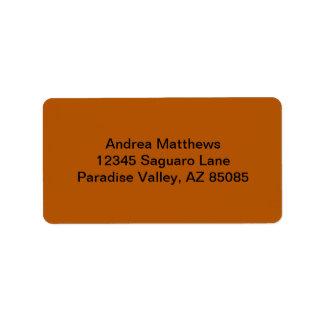 Pumpkin Spice Solid Color Address Label