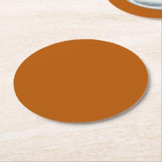Pumpkin Spice Solid Colour Round Paper Coaster