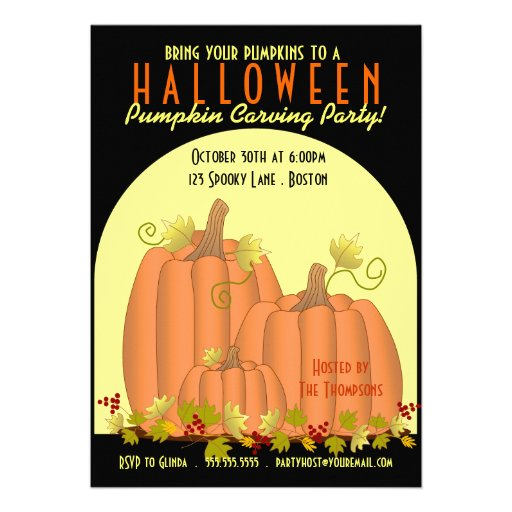 Pumpkins and Moonlight Pumpkin Carving Party Personalized Announcement