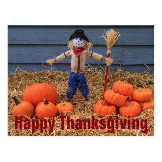 Pumpkins, Thanksgiving and Scarecrow Postcard