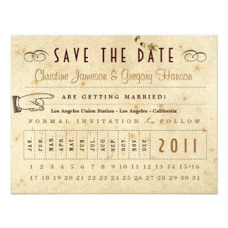 Punch Card Save the Date - Vintage Colors Personalized Invitations
