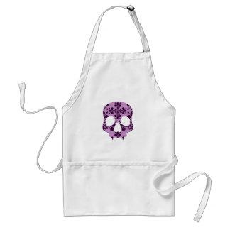 Punk purple damask fanged skull standard apron