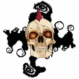 Punk Rock Gothic Skull with Red Mohawk Standing Photo Sculpture