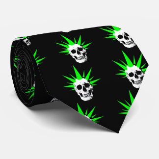 Punk Rock Skull with Neon Green Spikey Hair Tie