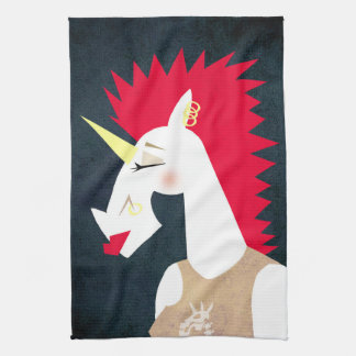 Punk Rock Unicorn Tea Towel
