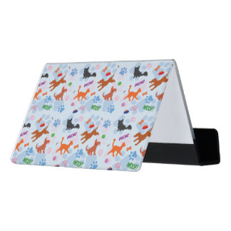 Puppies and Kittens Desk Business Card Holder