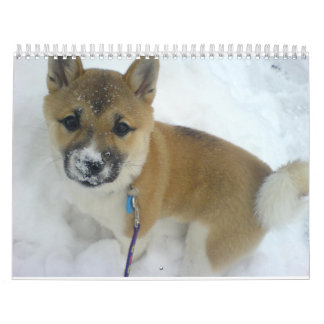puppy 3 shiba inu.png wall calendar