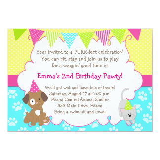 Puppy and Kitten Invitation Girl Birthday Party