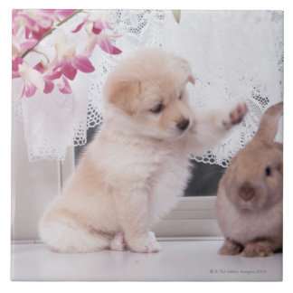 Puppy and Lop Ear Rabbit Tile