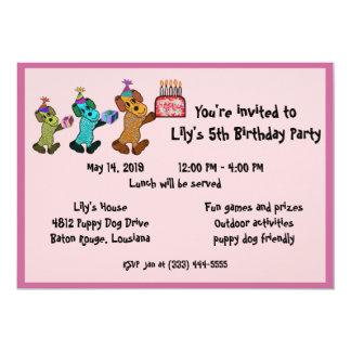 Puppy Dog Birthday Invitaiton 13 Cm X 18 Cm Invitation Card