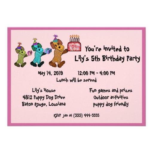 Puppy Dog Birthday Invitaiton Personalized Invitation
