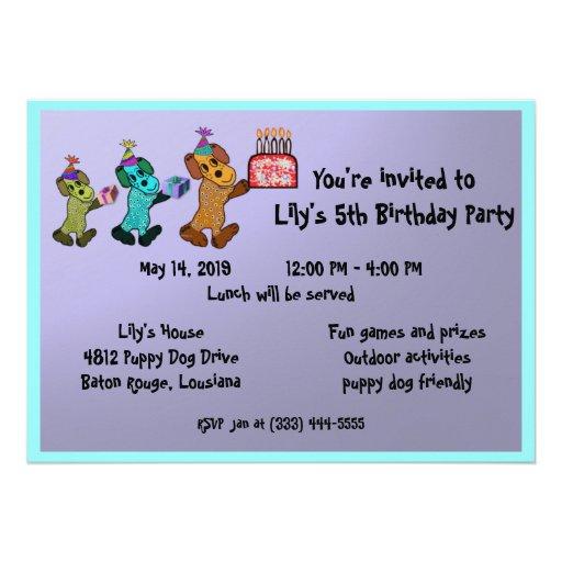 Puppy Dog Birthday Invitaiton Personalized Announcement