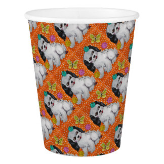 Puppy Dog & Butterfly Orange Design Party Supplies Paper Cup
