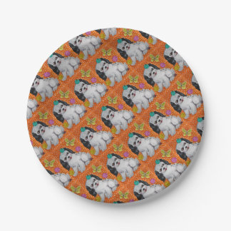 Puppy Dog & Butterfly Orange Design Party Supplies Paper Plate