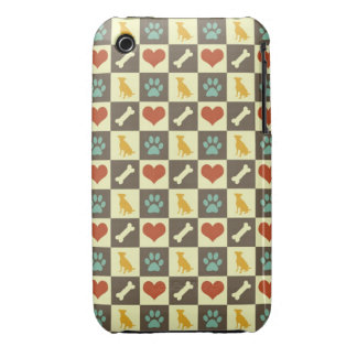 Puppy dog heart bone chequered pattern pet lover iPhone 3 Case-Mate cases