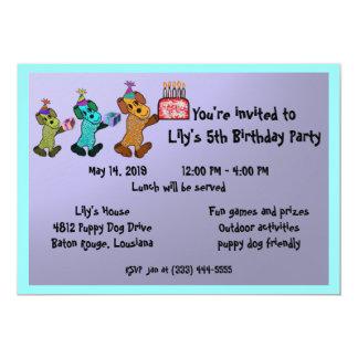 Puppy Dogs Birthday Invitaiton 13 Cm X 18 Cm Invitation Card