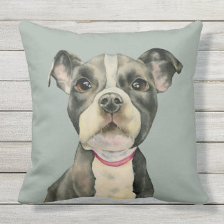 """""""Puppy Eyes"""" Pit Bull Dog Watercolor Painting Outdoor Cushion"""