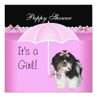 """Puppy Shower Cute Dog Pink 5.25"""" Square Invitation Card"""