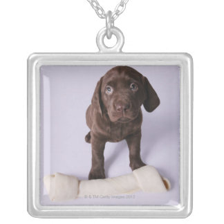 Puppy Sitting by a Bone Silver Plated Necklace