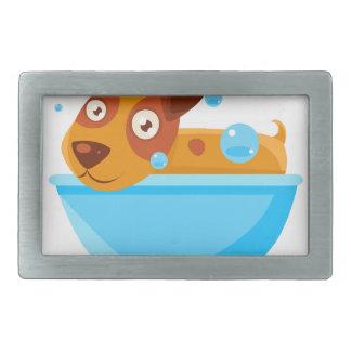 Puppy Taking A Bubble Bath In  Tub Belt Buckles