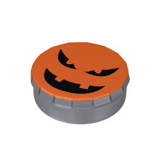 Pure evil snarl pumpkin head Halloween party Jelly Belly Candy Tin