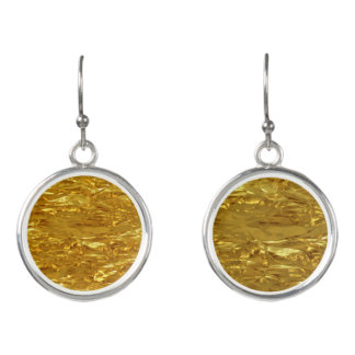 PURE GOLD FOIL Pattern + your text / photo Earrings