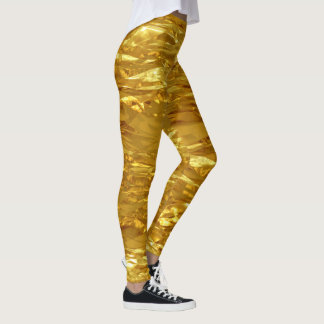 PURE GOLD FOIL Pattern + your text / photo Leggings