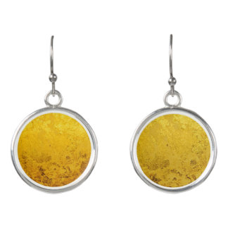 PURE GOLD LEAF Pattern + your text / photo Earrings