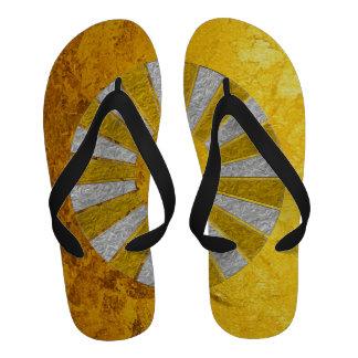 PURE GOLD pattern / gold leaf Flip-Flops