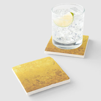 PURE GOLD pattern / gold leaf + your text / image Stone Beverage Coaster