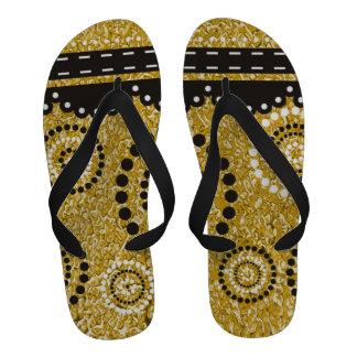 PURE GOLD Splatter Pattern + your image Flip Flops