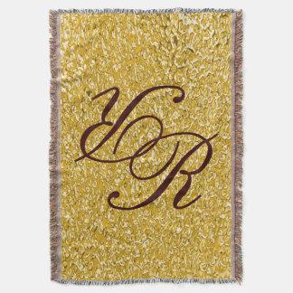 PURE GOLD Splatter Pattern + your monogram Throw Blanket