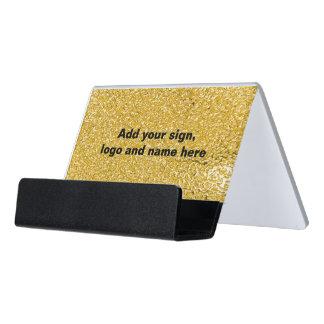 PURE GOLD Splatter Pattern + your text / photo Desk Business Card Holder