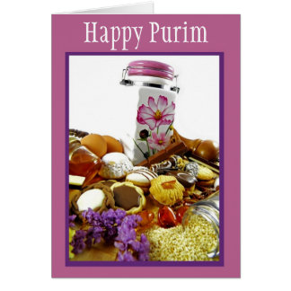 Purim blessings with cookies and sweets card