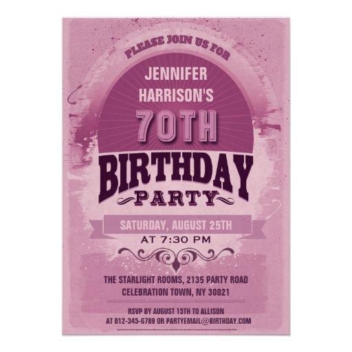 Purple 70th Birthday Vintage Typography Invites