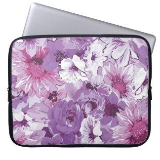 Purple Abstract Elegant Floral Design Laptop Sleeve