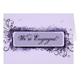 Purple Abstract Floral Engagement Announcement Greeting Card