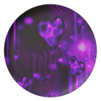 Purple Abstract Hearts Plate