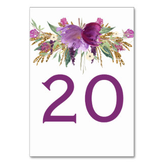 Purple Amethyst Gold Glitter Floral Table Cards