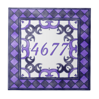 Purple and  Anthracite Small House Number Tile