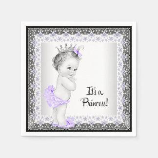 Purple and Black Baby Shower Disposable Serviettes