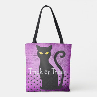 Purple and Black Cat Trick or Treat Bag