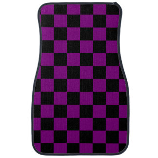 Purple and Black Checkerboard Pattern Floor Mat