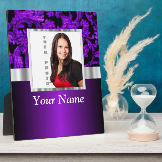 Purple and black damask photo template plaque