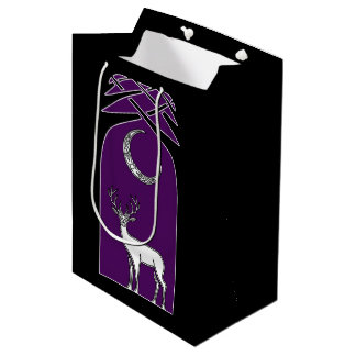 Purple And Black Deer In The Forest Celtic Art Medium Gift Bag