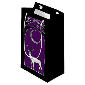 Purple And Black Deer In The Forest Celtic Art Small Gift Bag