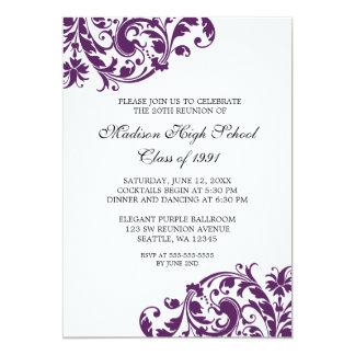 Purple and Black Flourish Class Reunion Card