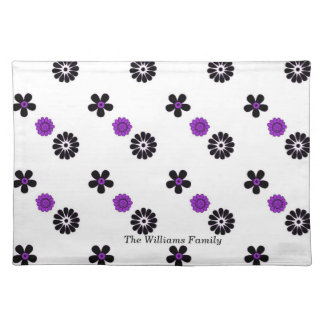 Purple and Black Funky Flowers Place Mat