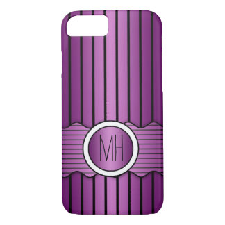 Purple and Black Pinstripes Pattern iPhone 7 Case