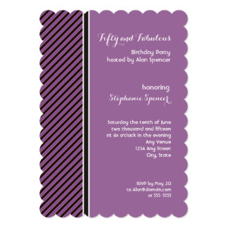 Purple and Black Stripes 50th Birthday Invitation